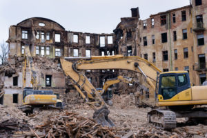 Demolition crew in the middle of a job.
